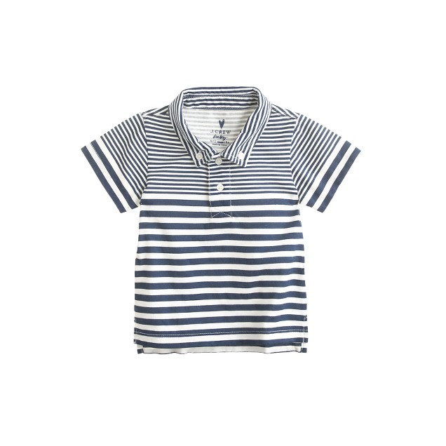 Baby jersey polo in ultramarine stripe