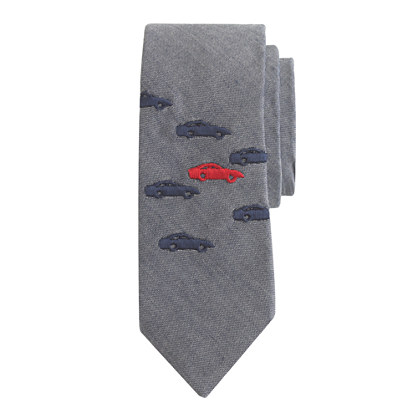 Boys' chambray tie in motorcar print