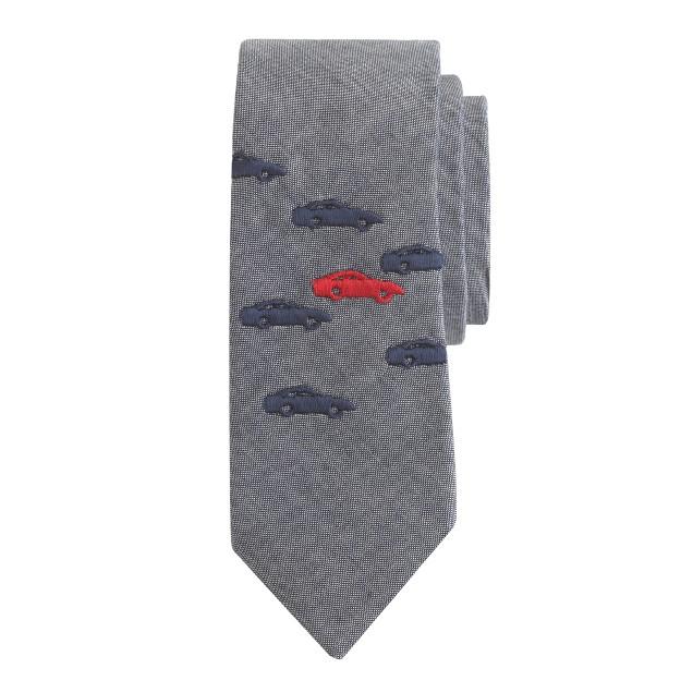 Boys' chambray tie in motorcar print