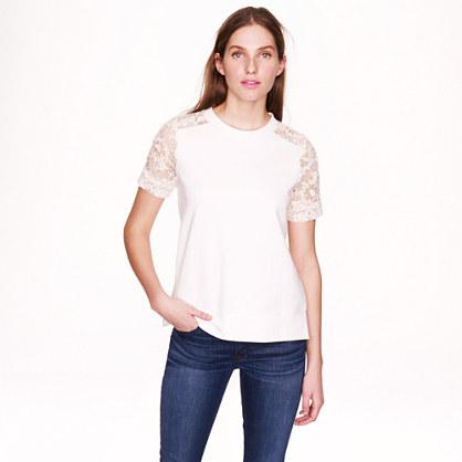 Lace-sleeve sweatshirt