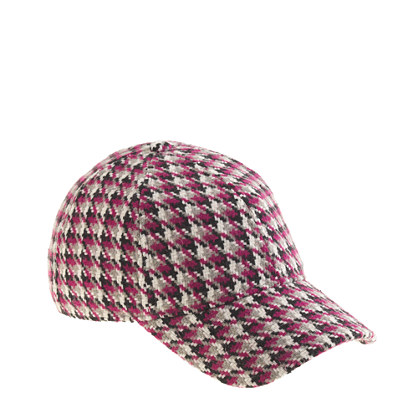 Houndstooth baseball cap in fuchsia