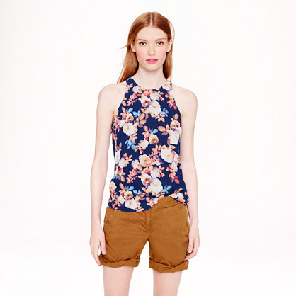 Silk racer tank in antique floral