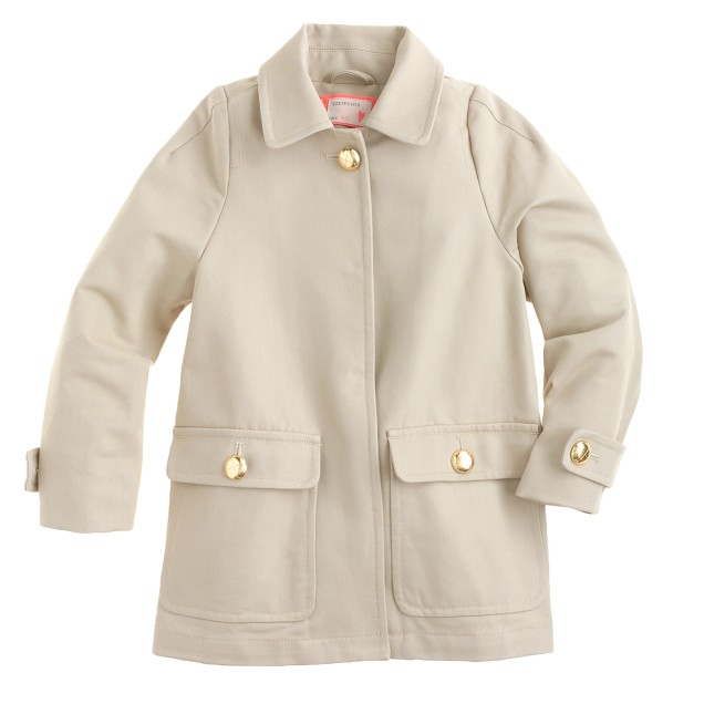 Girls' Trench in cotton twill