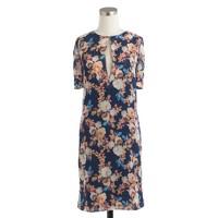 Silk dress in antique floral