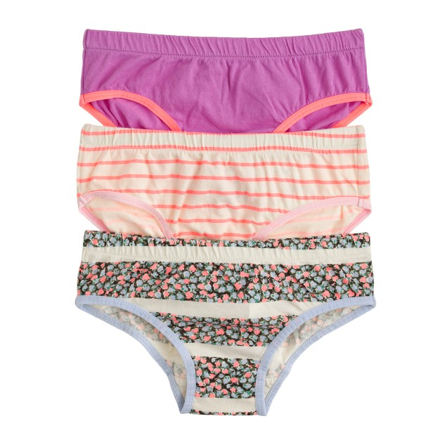 Girls' underwear three-pack in flower stripe