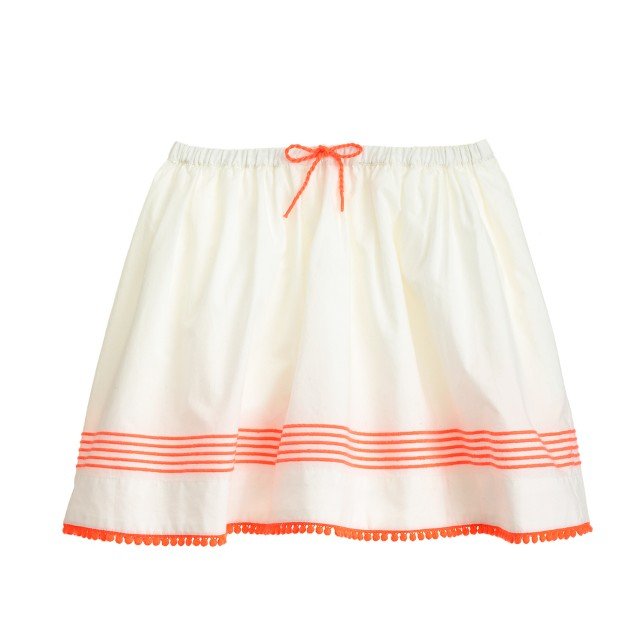 Girls' stripe pom-pom skirt