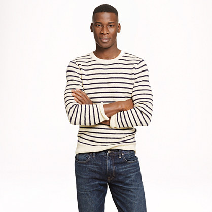 Linen-cotton sweater in nautical stripe