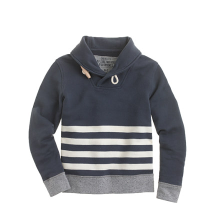 Boys' stripe shawl-collar popover