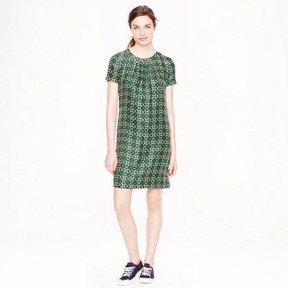 Swoop dress in latticework medallion