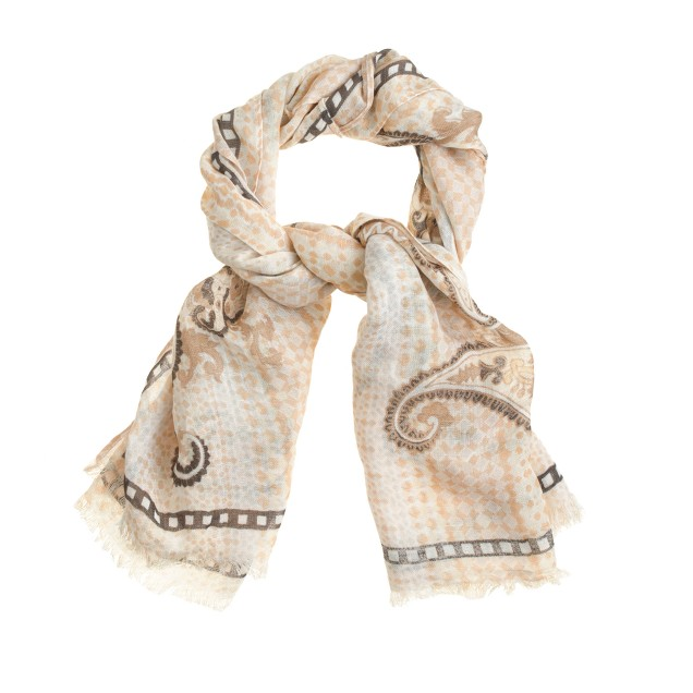 Paisley diamond-stripe scarf
