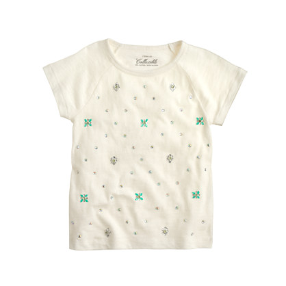 Girls' jeweled flower dot T-shirt