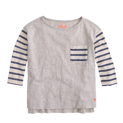 Girls' stripe contrast-pocket T-shirt