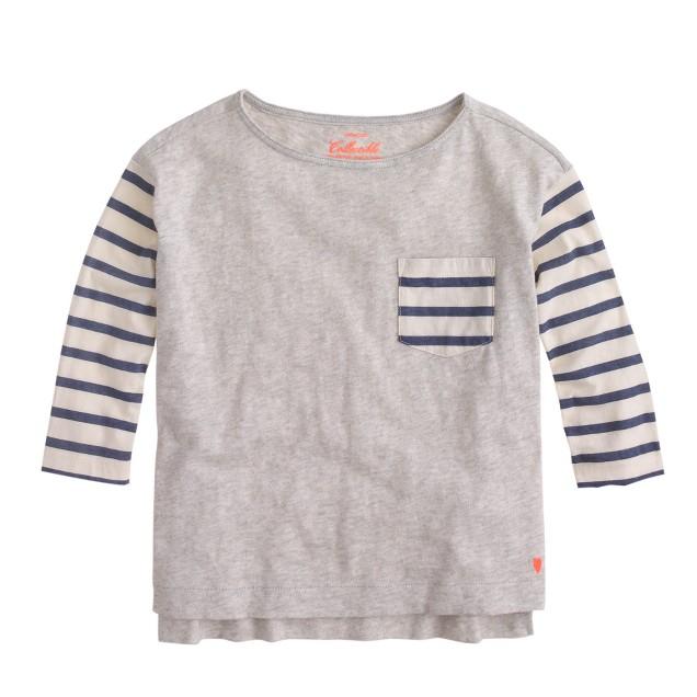 Girls' stripe contrast-pocket T-shirt