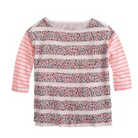 Girls' floral-stripe T-shirt