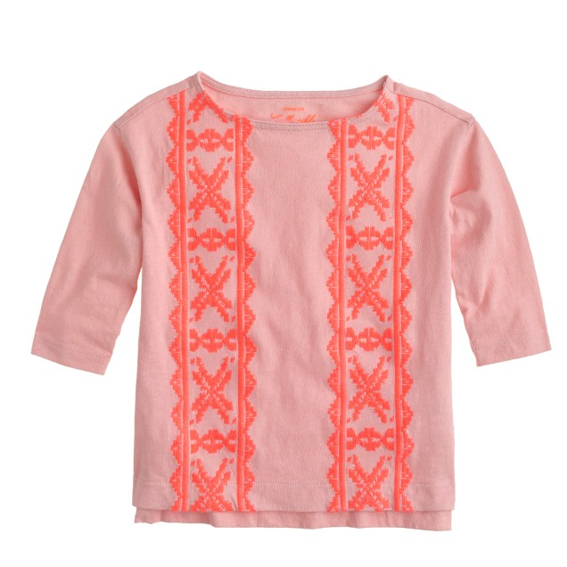 Girls' embroidered-panel T-shirt