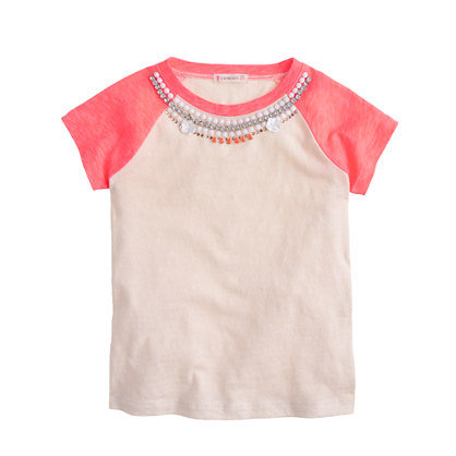 Girls' necklace baseball T-shirt