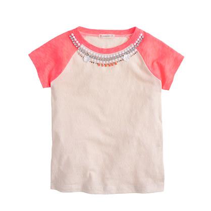Girls' necklace baseball T-shirt