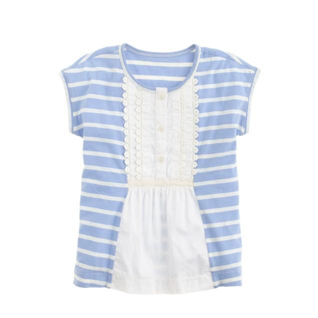 Girls' pintuck top in stripe