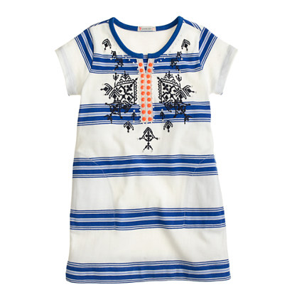 Girls' embroidered stripe tunic with neon beads
