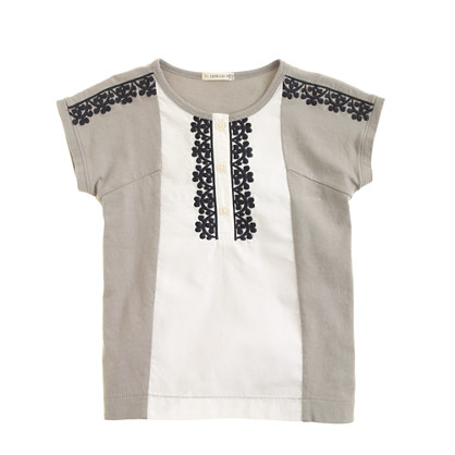 Girls' embroidered colorblock henley