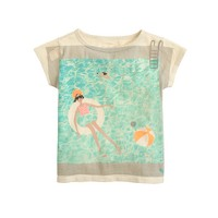 Girls' Olive in swimming pool T-shirt