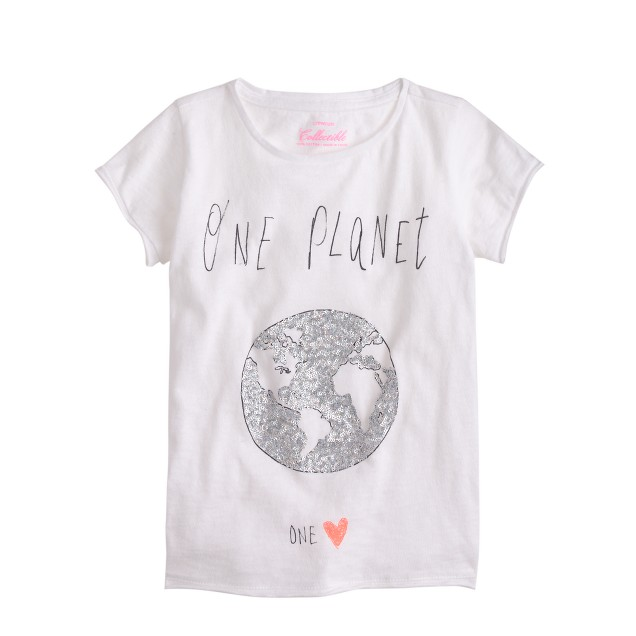 Girls 39 sequin one planet t shirt j crew for Girls sequin t shirt