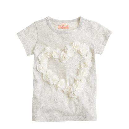 Girls' tulle heart T-shirt
