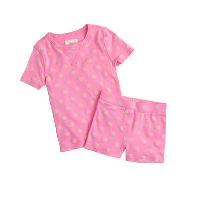 Girls' short-sleeve pajama set in pink dot