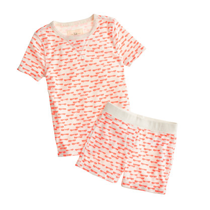 Girls' short-sleeve pajama set in neon bow