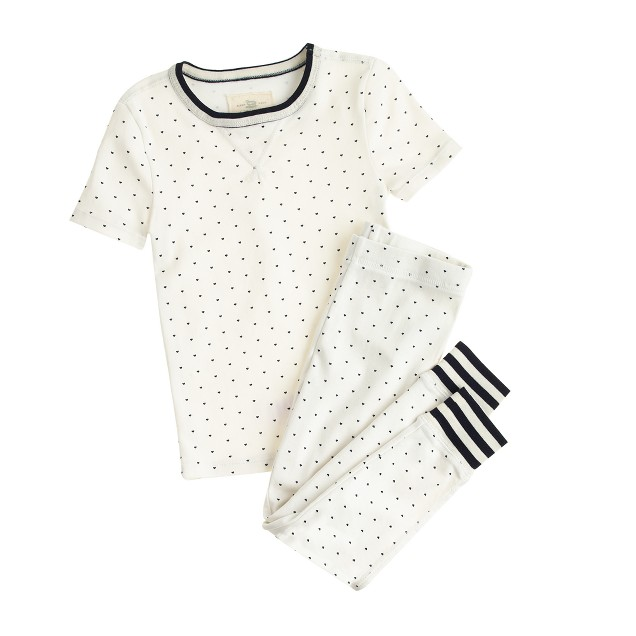 Girls' pajama set in tiny hearts