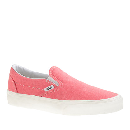 Vans® solid canvas classic slip-on shoes in washed hot coral