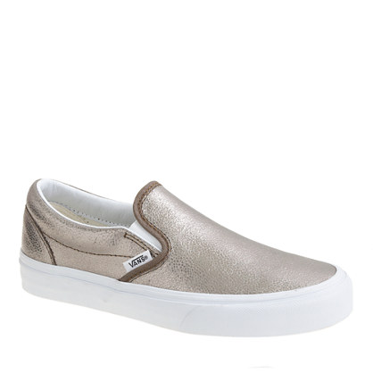 Unisex Vans® classic slip-on sneakers in metallic bronze leather