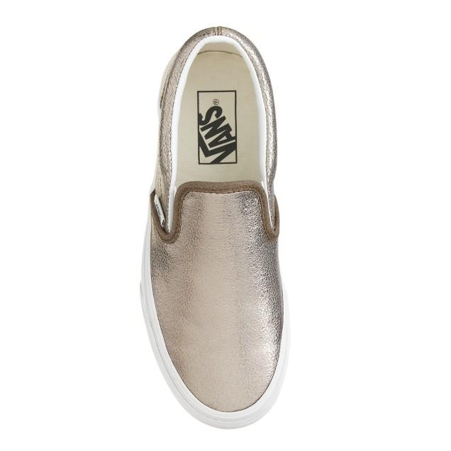 Unisex Vans® classic slip-on sneakers in metallic bronze leather