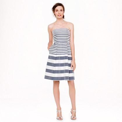 Strapless stripe silk dupioni dress