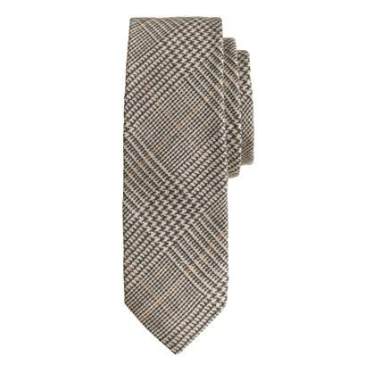 Italian silk-linen tie in sahara glen plaid