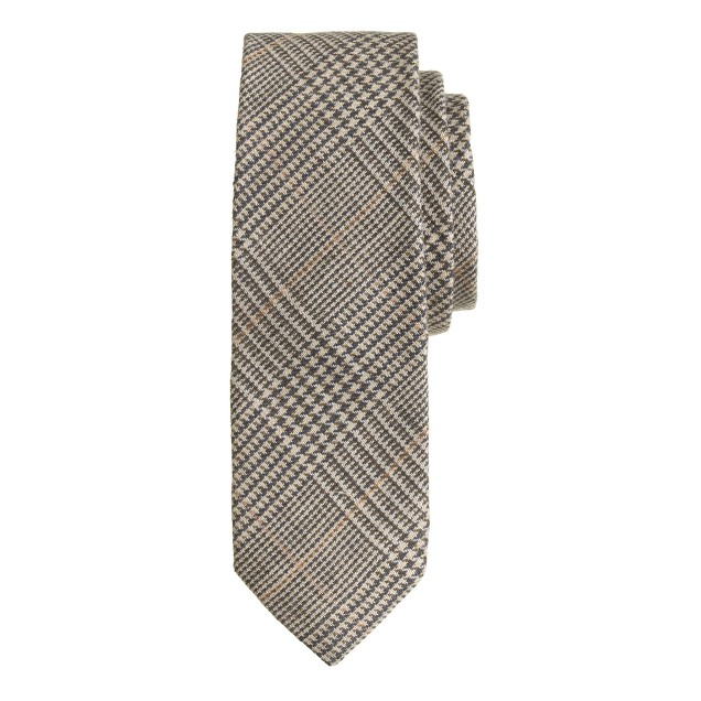 Italian silk-linen tie in sahara glen plaid