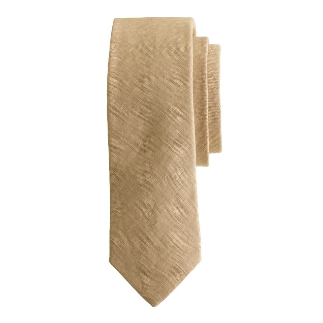 Irish linen tie in dusty dune