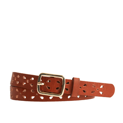 Girls' perforated leather belt