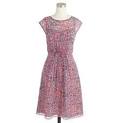 Sleeveless silk chiffon dress in watercolor dot
