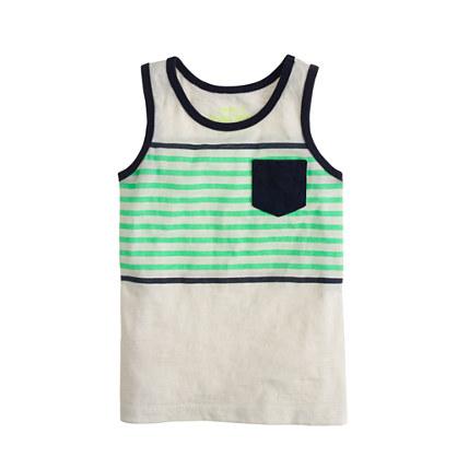 Boys' pocket tank in double stripe