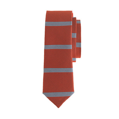 Boys' silk tie in red stripe