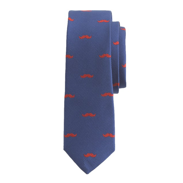 Boys' blue silk tie in moustache print