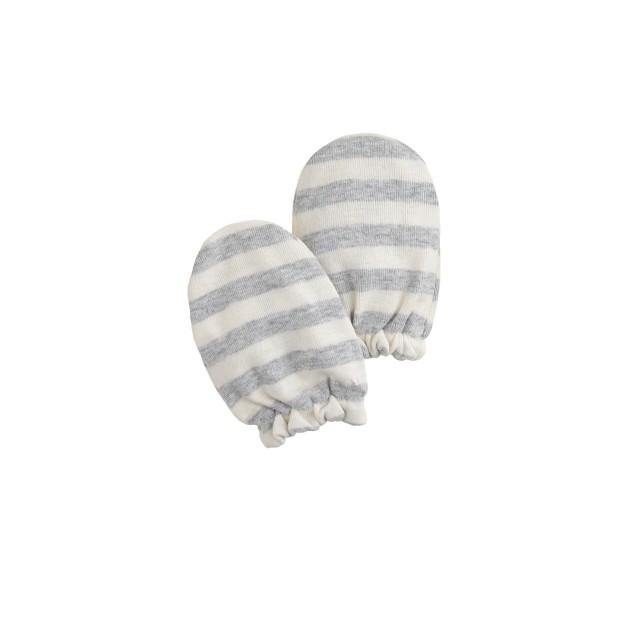 Baby cotton mittens in stripe