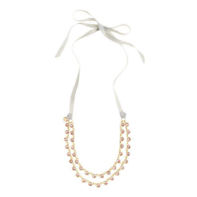 Girls' double crystal-encrusted necklace