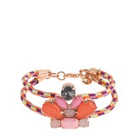 Girls' corded crystal cluster bracelet