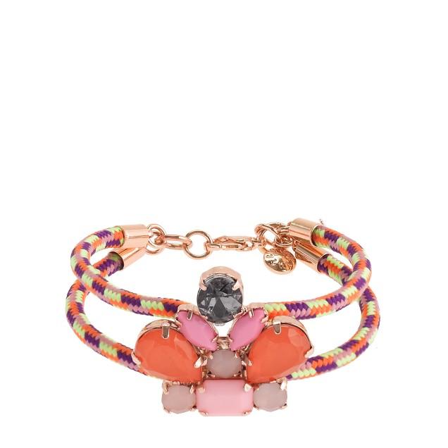 Girls' corded crystal cluster bracelet