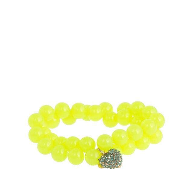 Girls' bead and pavé heart bracelet