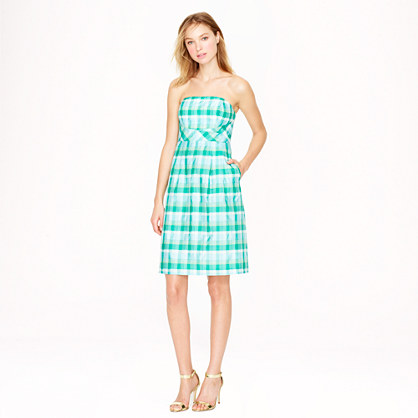 Strapless plaid silk organza dress