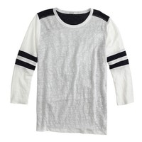 Linen baseball T-shirt in colorblock