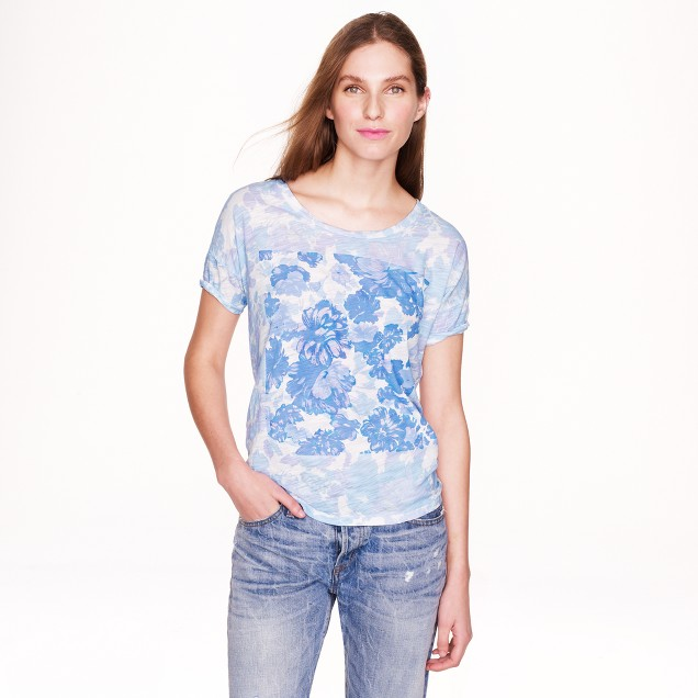 Drapey T-shirt in cobalt floral